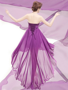 A-line Strapless High Low Chiffon Flower Homecoming Dresses