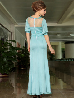 Over Hip Bateau Half Sleeve Floor-length Chiffon Beading Prom Dresses With Semi Transparent