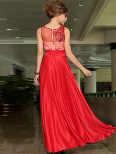 A-line Bateau Floor-length Chiffon Flower Appliques Prom Dresses With Semi Transparent