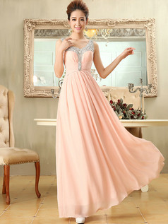 Column Scoop Floor-length Chiffon Sequin Evening Dresses With Semi Transparent