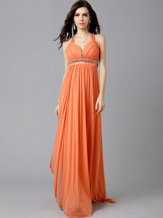 Column V-neck Brush Train Chiffon Crystal Draped Evening Dresses