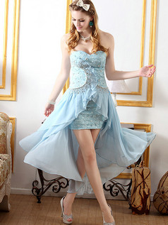 Column Sweetheart Ankle-length Chiffon Beading High Low Prom Dresses