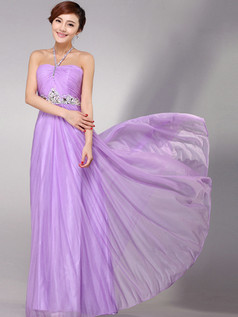 Column Tube Top Floor-length Chiffon Crystal Evening Dresses