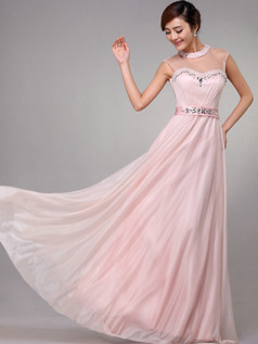 Column Round Brought Floor-length Chiffon Crystal Evening Dresses With Semi Transparent