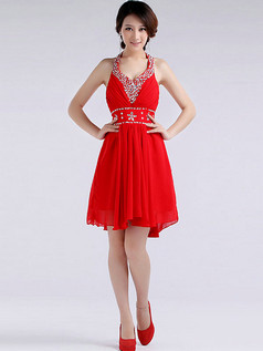 A-line Scoop Halter Short Chiffon Crystal Prom Dresses