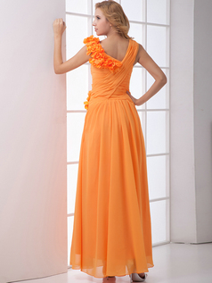 A-line Asymmetrical Collar Ankle-length Chiffon Flower Prom Dresses