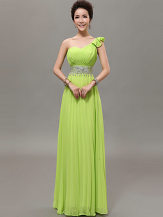 Column One Shoulder Floor-length Chiffon Beading Draped Prom Dresses