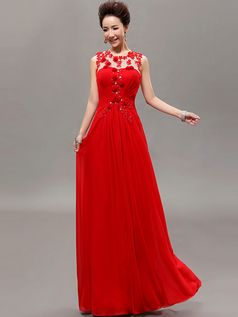Column Scalloped-edge Floor-length Chiffon Crystal Flower Prom Dresses With Semi Transparent