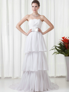 A-line Scalloped-edge Brush Train Chiffon Beading Lace Prom Dresses