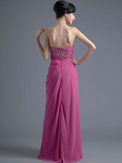 Column Tube Top Floor-length Chiffon Sequin Beading Prom Dresses