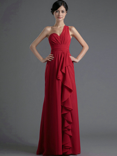 A-line One Shoulder Floor-length Chiffon Ruffles Prom Dresses