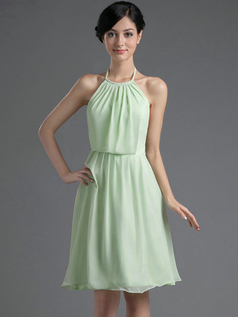A-line Halter Round Brought Knee-length Chiffon Homecoming Dresses With Draped