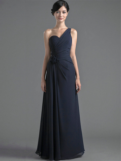 Over Hip One Shoulder Floor-length Chiffon Flower Evening Dresses
