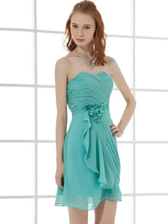 A-line Sweetheart Short Chiffon Flower Side-draped Homecoming Dresses