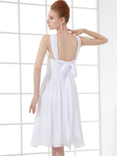 A-line Straps Knee-length Chiffon Draped Cocktail Dresses