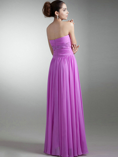 Column Strapless Floor-length Chiffon Beading Crystal Prom Dresses