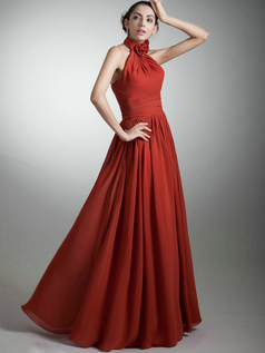 A-line Halter Floor-length Chiffon Flower Draped Evening Dresses