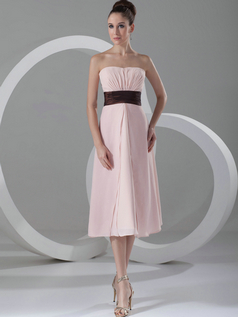 A-line Strapless Tea-length Chiffon Tiered Evening Dresses