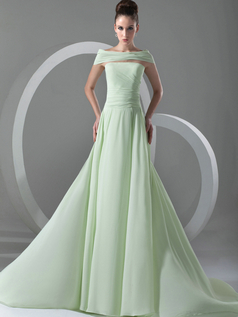 A-line Bateau Brush Train Chiffon Draped Evening Dresses