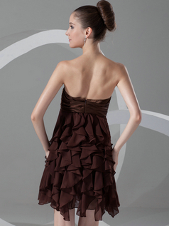 A-line Sweetheart Strapless Short Chiffon Ruffle Cocktail Dresses
