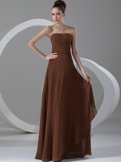 Column Strapless Floor-length Chiffon Evening Dresses