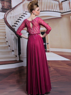 Column Bateau Floor-length Lace Beading Prom Dresses With Sequin