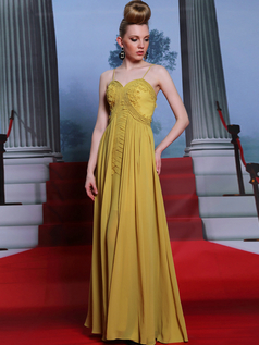 Column Spaghetti Straps Floor-length Chiffon Flower Evening Dresses With Draped