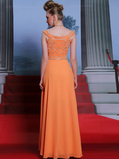Column V-neck Floor-length Chiffon Beading Embroidery Evening Dresses With Sequin