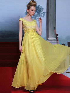 A-line Scoop Floor-length Chiffon Beading Draped Evening Dresses With Sequin