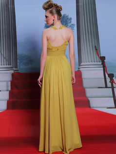 Column Round Brought Floor-length Chiffon Evening Dresses With Semi Transparent