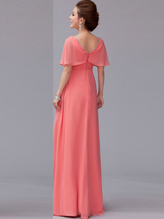 Column V-neck Floor-length Chiffon Crystal Draped Evening Dresses