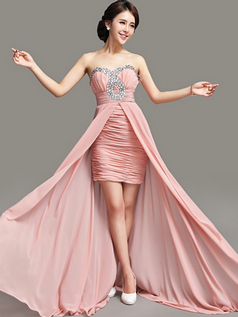 A-line Sweetheart Sweep Chiffon Crystal Tiered Prom Dresses