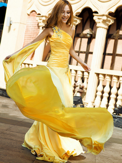 A-line One Shoulder Floor-length Stretch Satin Crystal Evening Dresses