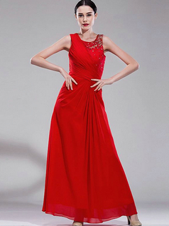 Column Scoop Ankle-length Chiffon Sequin Beading Lace Evening Dresses