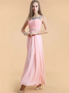 Column Bateau Ankle-length Chiffon Crystal Draped Prom Dresses