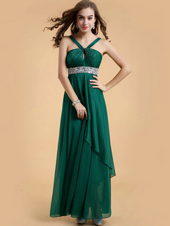 Column Straps Ankle-length Chiffon Crystal Prom Dresses With Beading