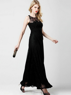 Column Bateau Ankle-length Chiffon Lace Evening Dresses