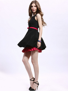 A-line Straps Mini Cotton Blended Ribbons Homecoming Dresses