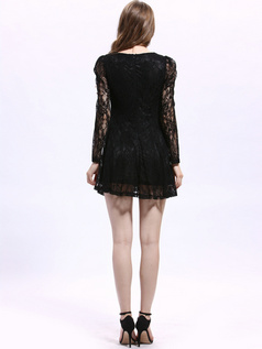 A-line Round Brought Short Lace Semi Transparent Cocktail Dresses