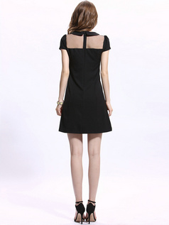 A-line Round Brought Mini Chiffon Semi Transparent Cocktail Dresses