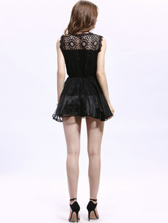 Princess Round Brought Mini Lace Draped Homecoming Dresses
