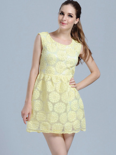 A-line Mini Lace Round Brought Homecoming Dresses