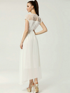 A-line Round Brought Ankle-length Chiffon Lace Dresses With Semi Transparent