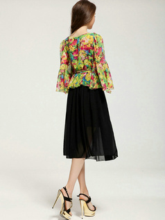 Column Scoop Tea-length Chiffon Print 3/4 Length Sleeve Prom Dresses