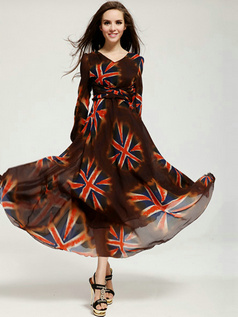 A-line V-neck Ankle-length Chiffon Print Chocolate Prom Dresses