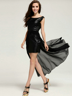 Column Round Brought Mini Chiffon Split Front Prom Dresses