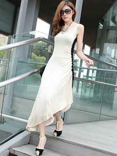 Sheath Scoop Tea-length Cotton Ivory Prom Dresses