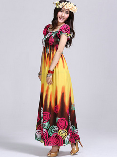Sheath Scoop Ankle-length Print Cotton Daffodil Maxi Dresses