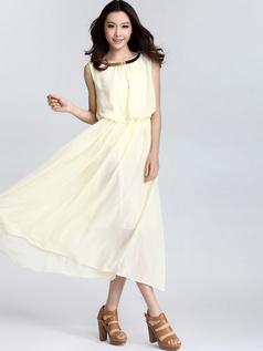 Sheath Round Brought Tea-length Chiffon Daffodil Prom Dresses