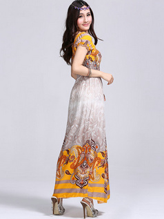 Sheath Scoop Cotton Ankle-length Print Daffodil Maxi Dresses